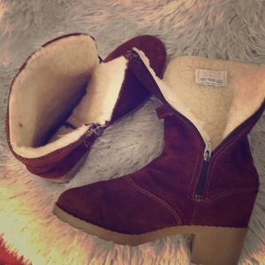 Leather suede shearling lined boots
